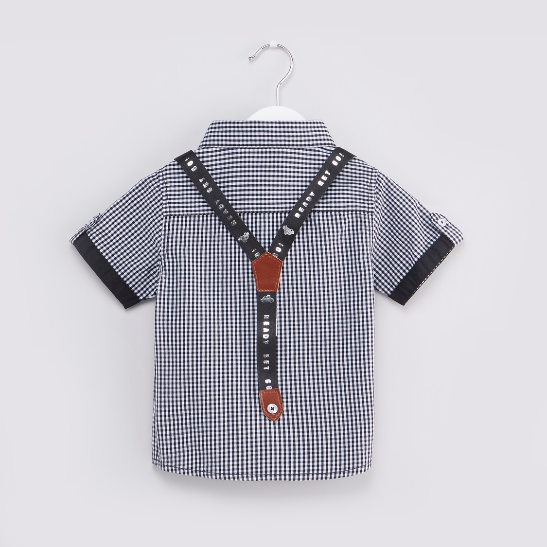 Chequered Shirt with Suspenders