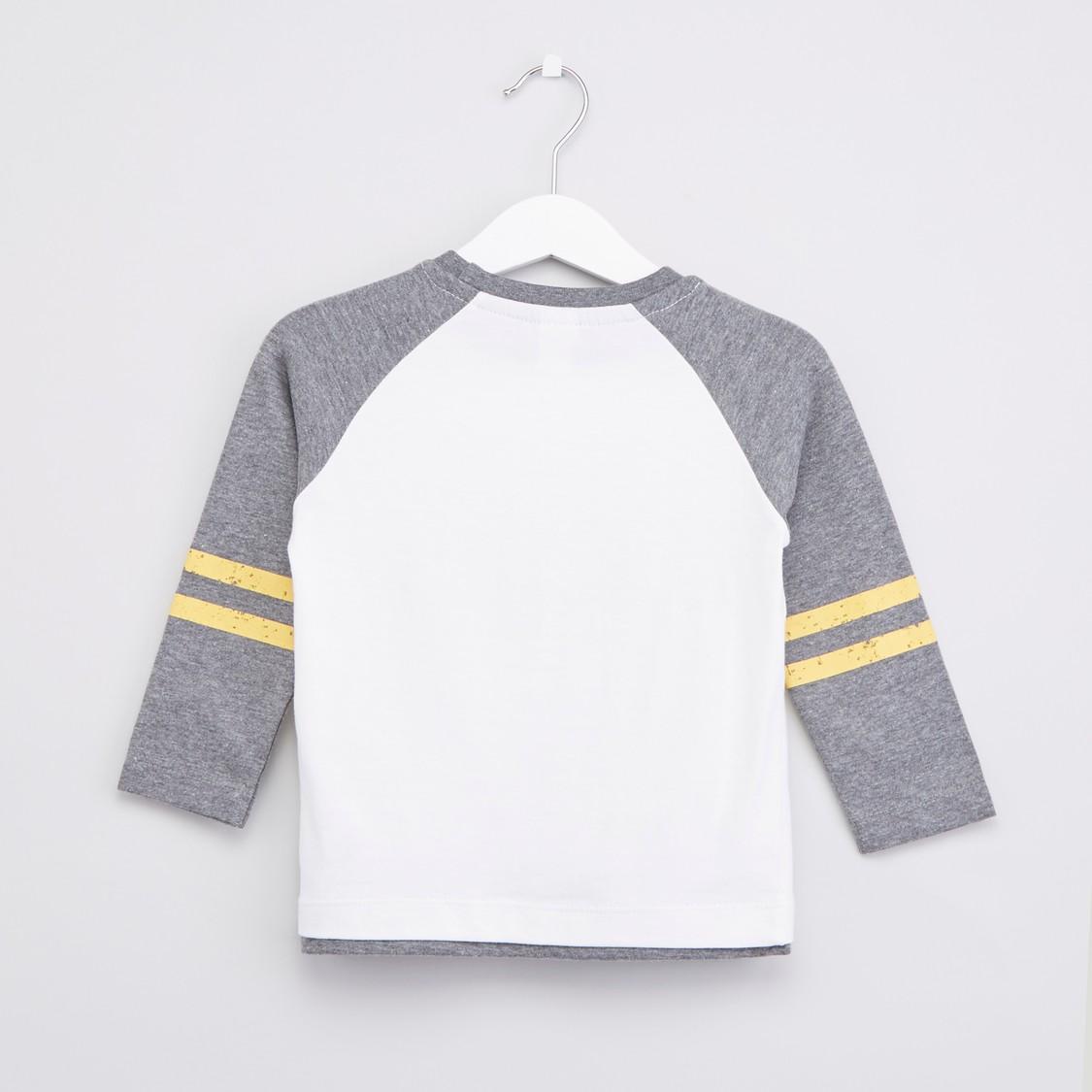 Printed T-shirt and Joggers with Drawstring Closure