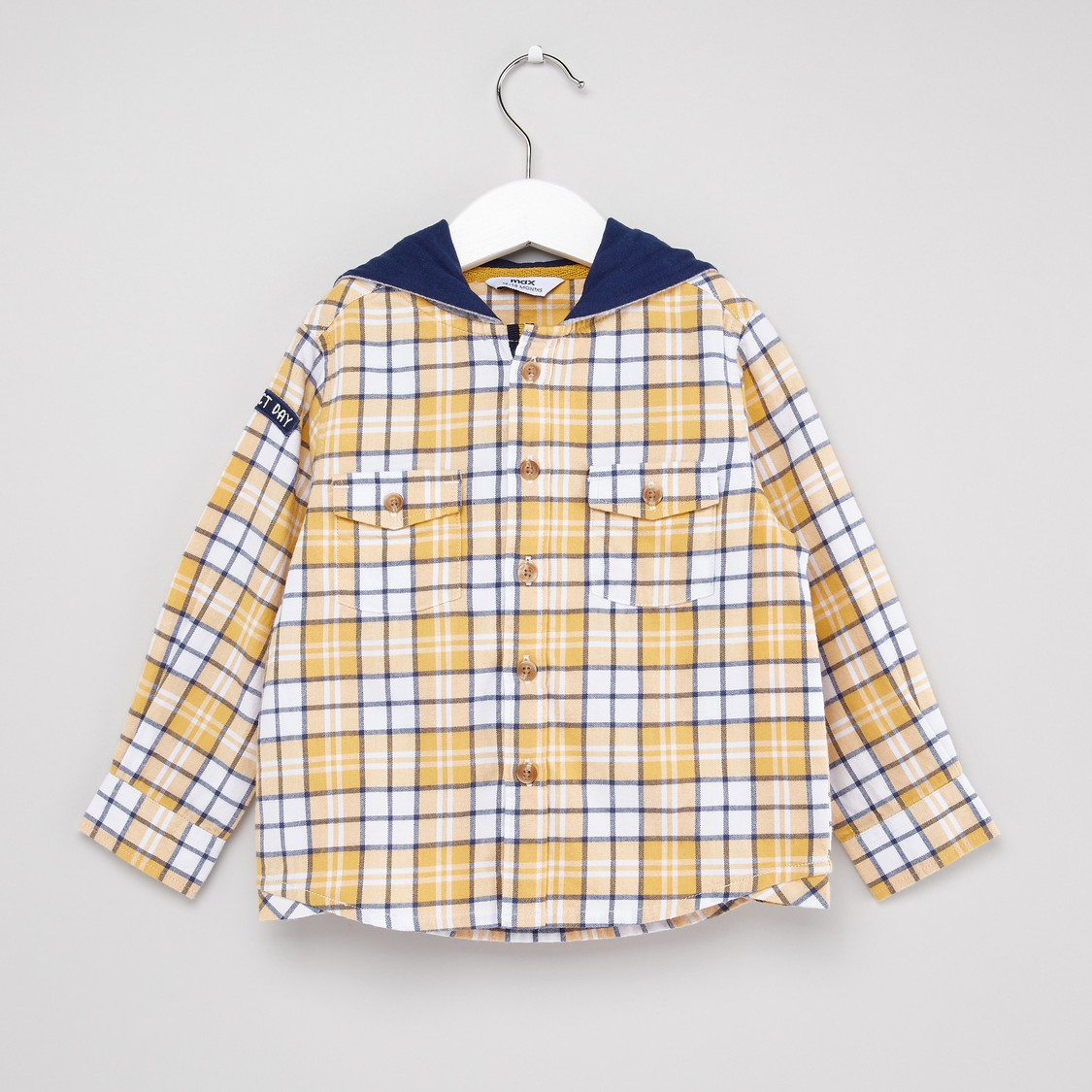 Chequered Shirt with Long Sleeves and Hood
