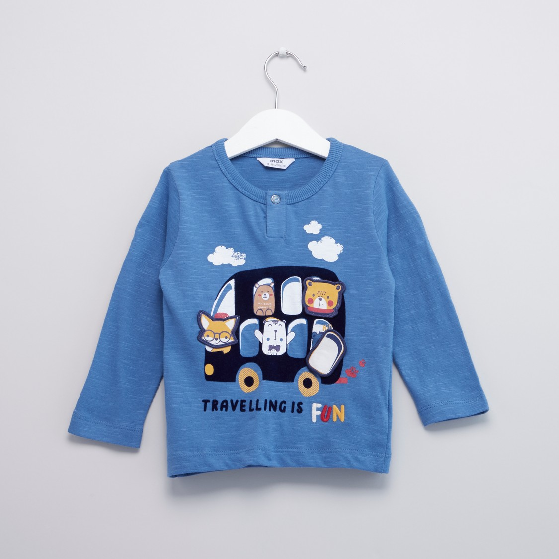 Scout Traveling Bus Print Round Neck T-shirt with Long Sleeves