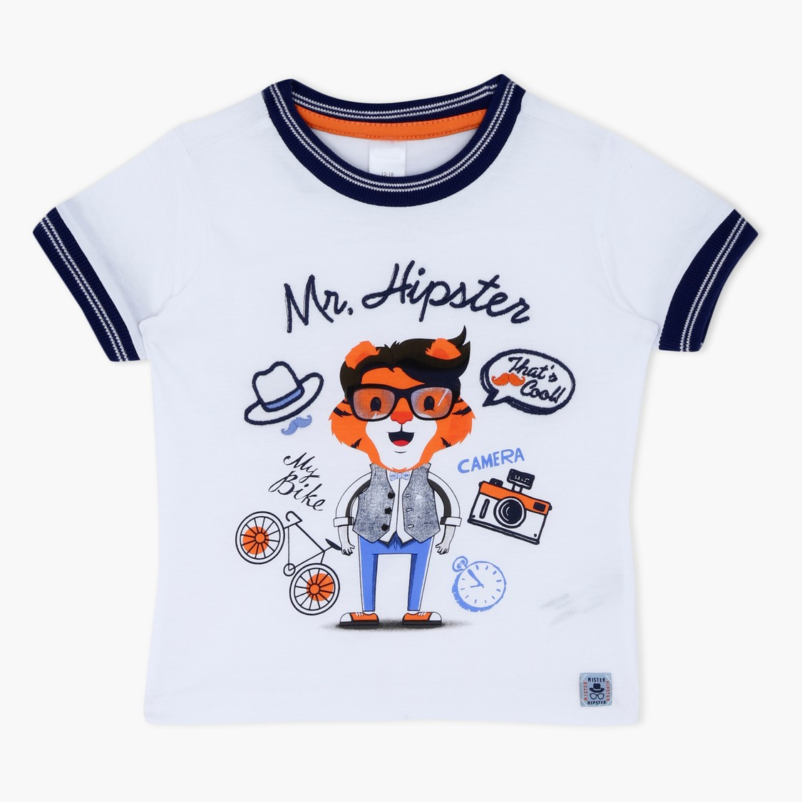 Graphic Print Short Sleeves Round Neck T-Shirt with Stitch Detailing
