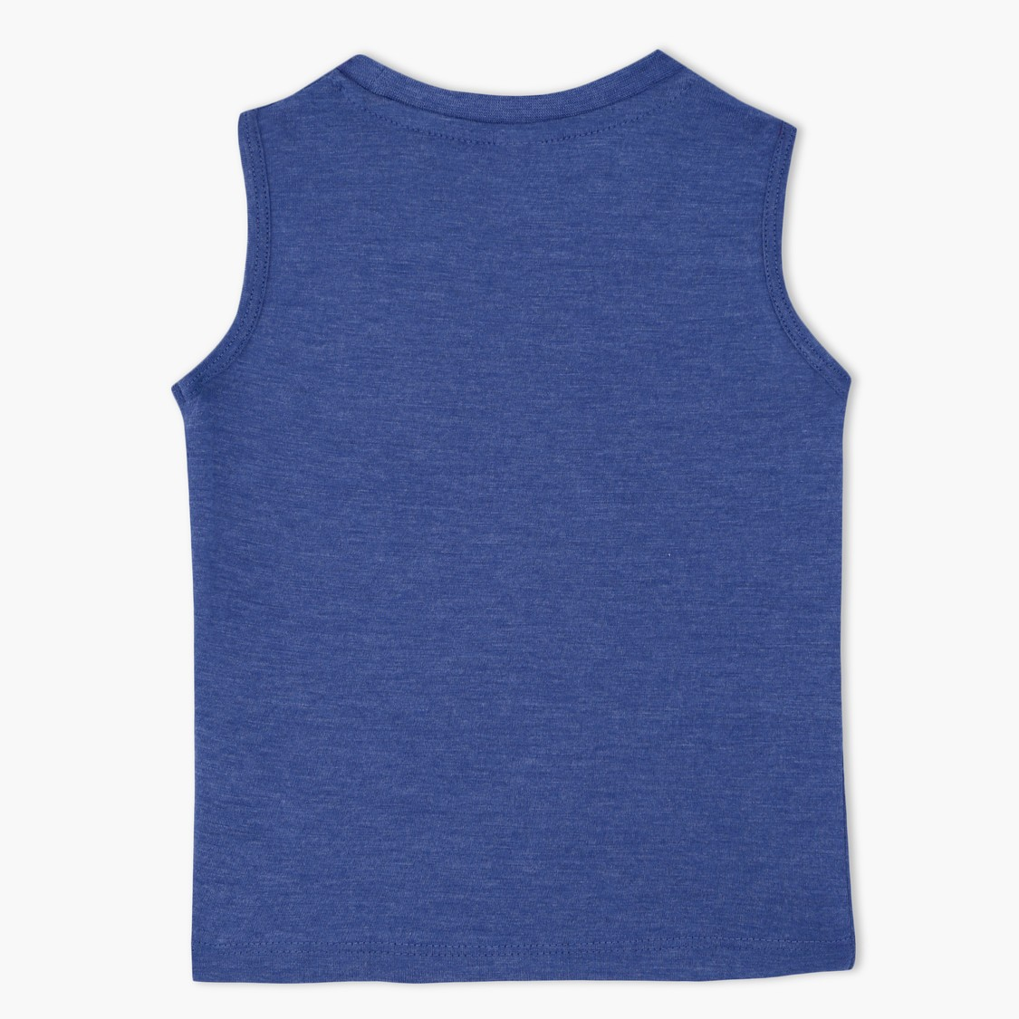 Sleeveless Round Neck T-Shirt with Striped Pocket Print