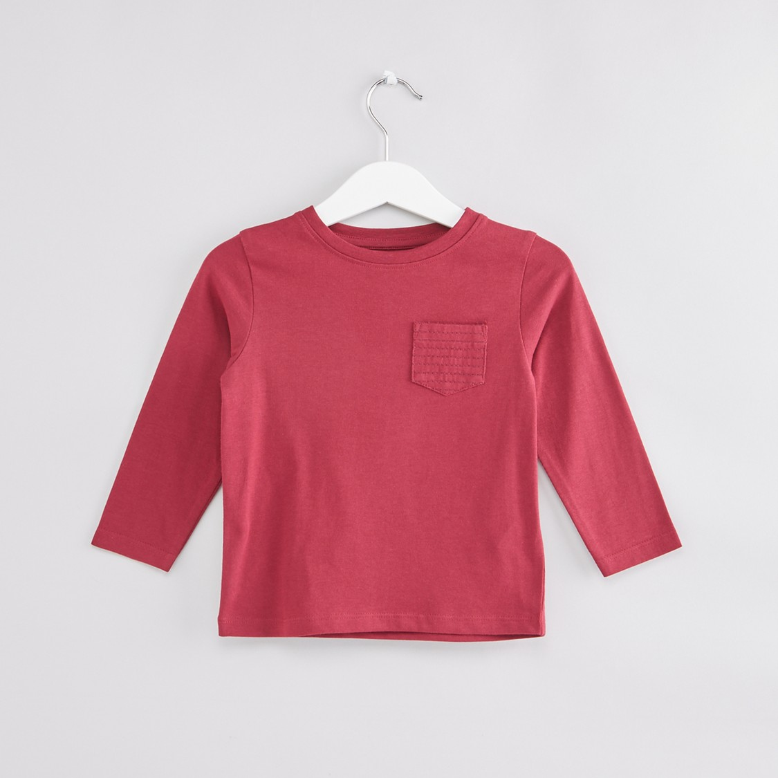 Pocket Detail Round Neck Long Sleeves T-Shirt