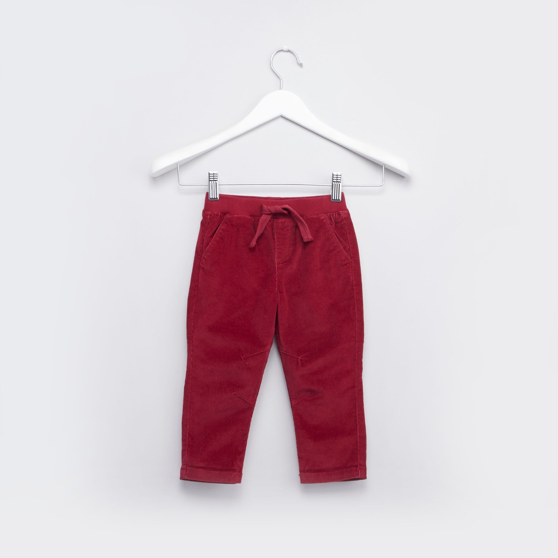 Corduroy Pants with Elasticated Drawstring Waistband