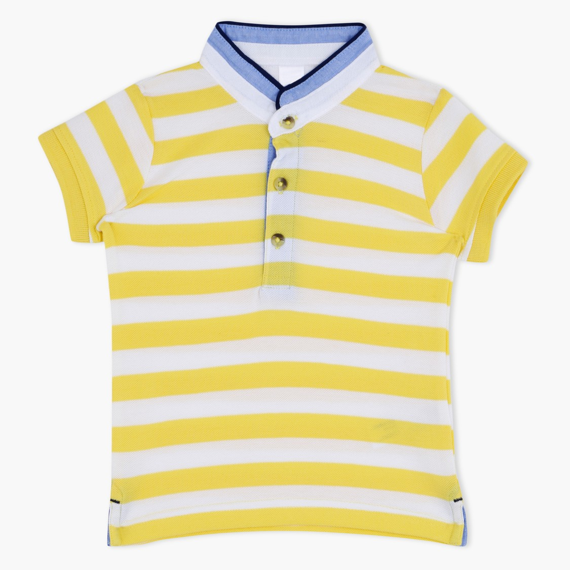 Striped T-Shirt with Short Sleeves and Double Henley Collar