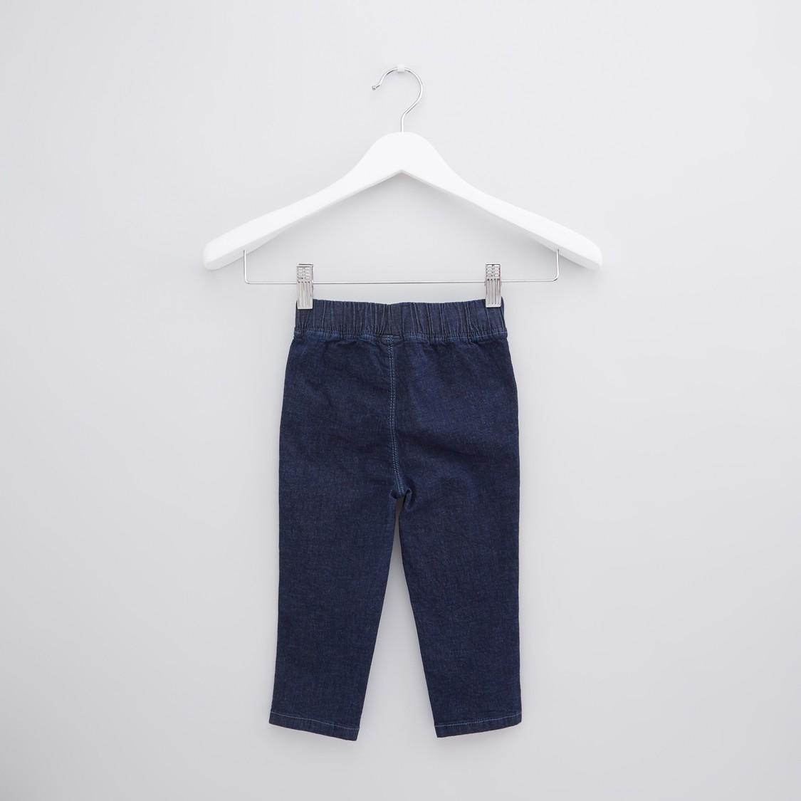 بنطال جينز طويل بخصر مطاطي