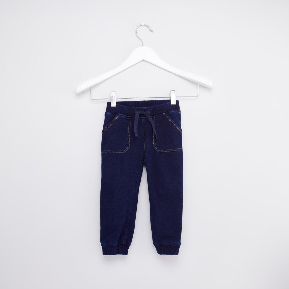 Full Length Denim Jog Pants with Pocket Detail and Drawstring