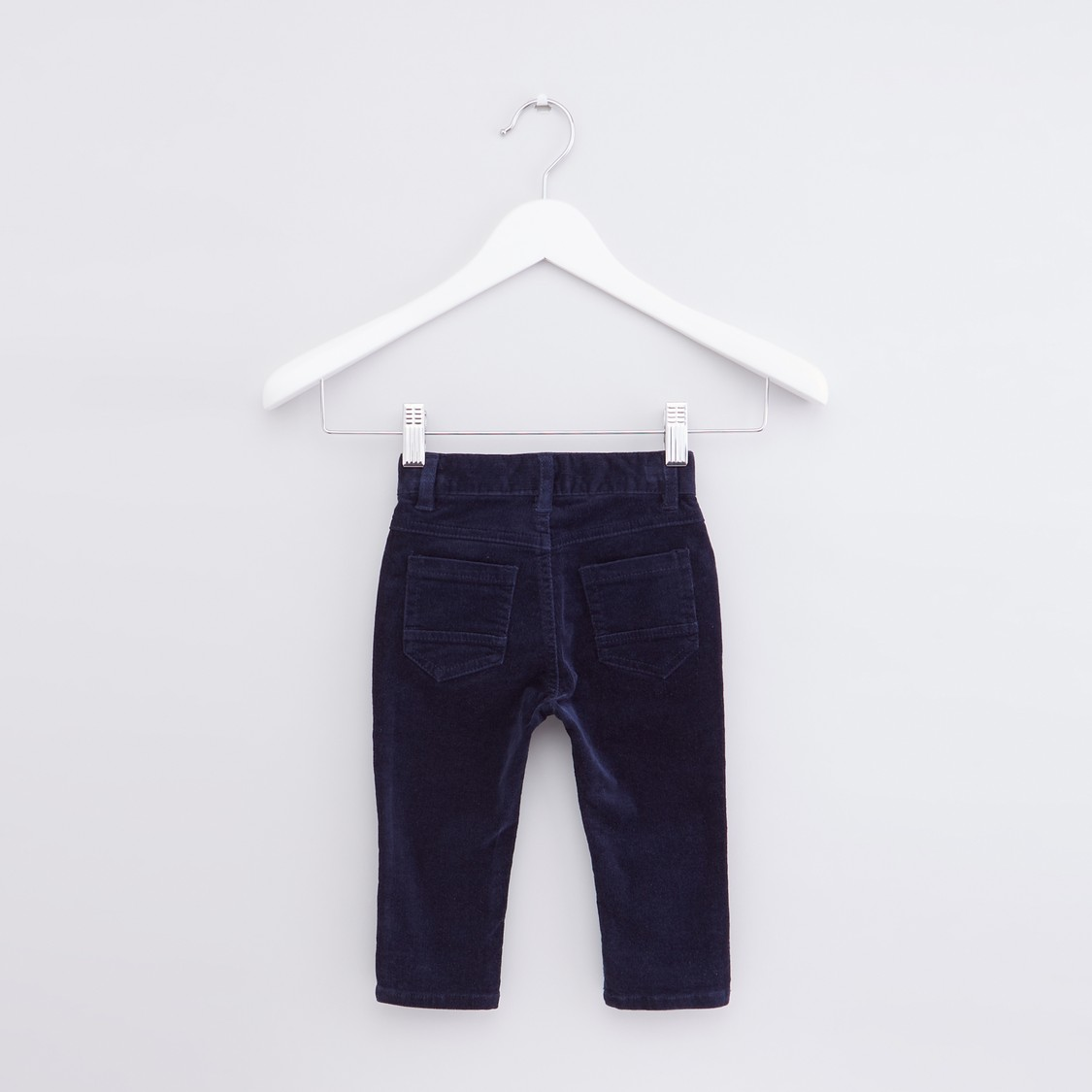 Textured Pants with Button Closure and Pocket Detail
