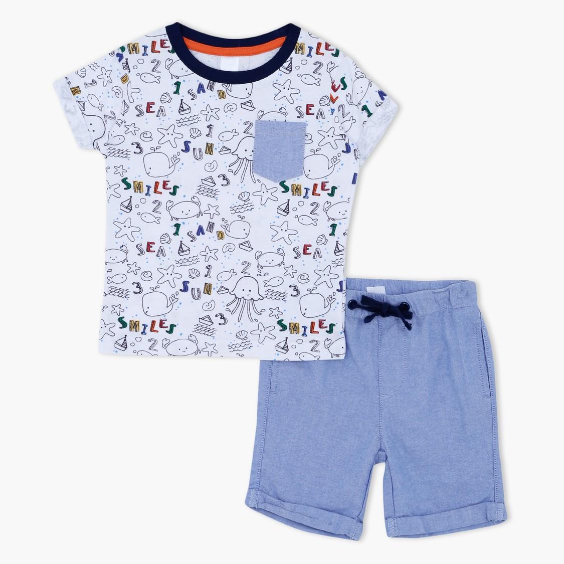 Graphic Print T-Shirt and Shorts Set