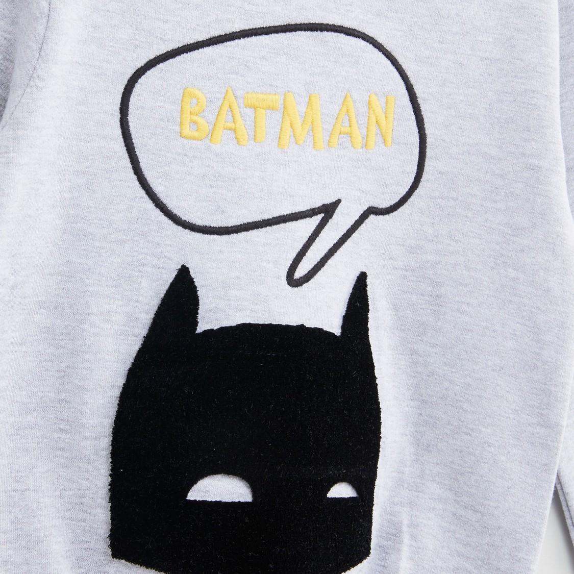 سويت شيرت بياقة مستديرة وأكمام طويلة وتطريزات باتمان