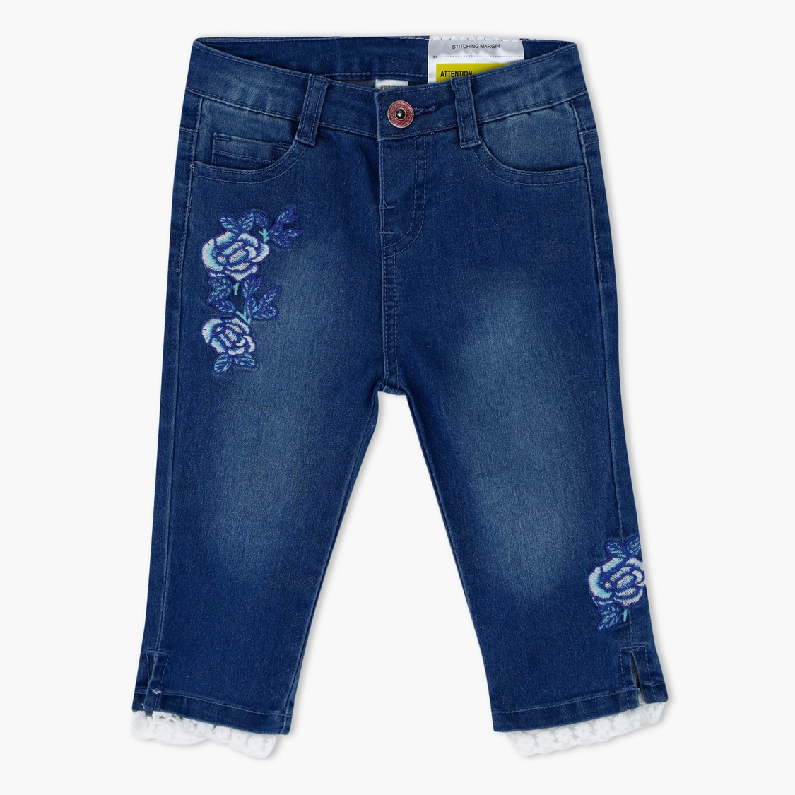Embroidered Denim Capris with Lace Hem