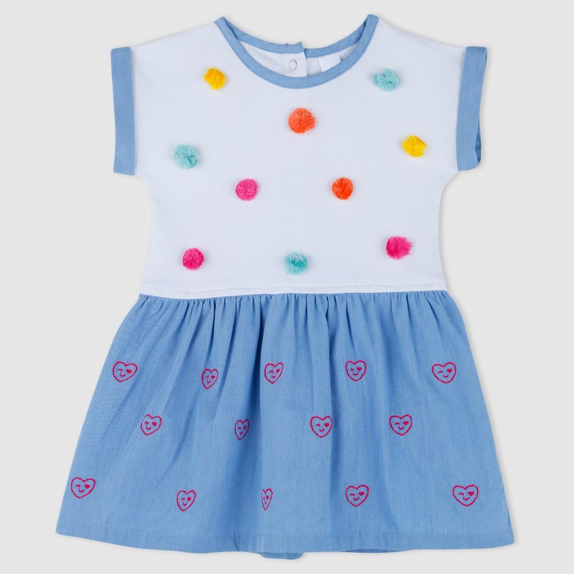 Pom Pom Detail Round Neck Dress