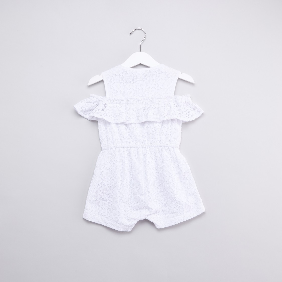 Embroidered Sleeveless Romper with Lace Detail