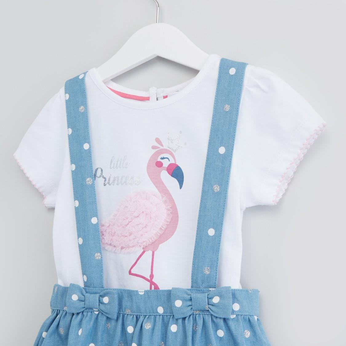 Flamingo Print T-shirt with Denim Suspender Skirt Set
