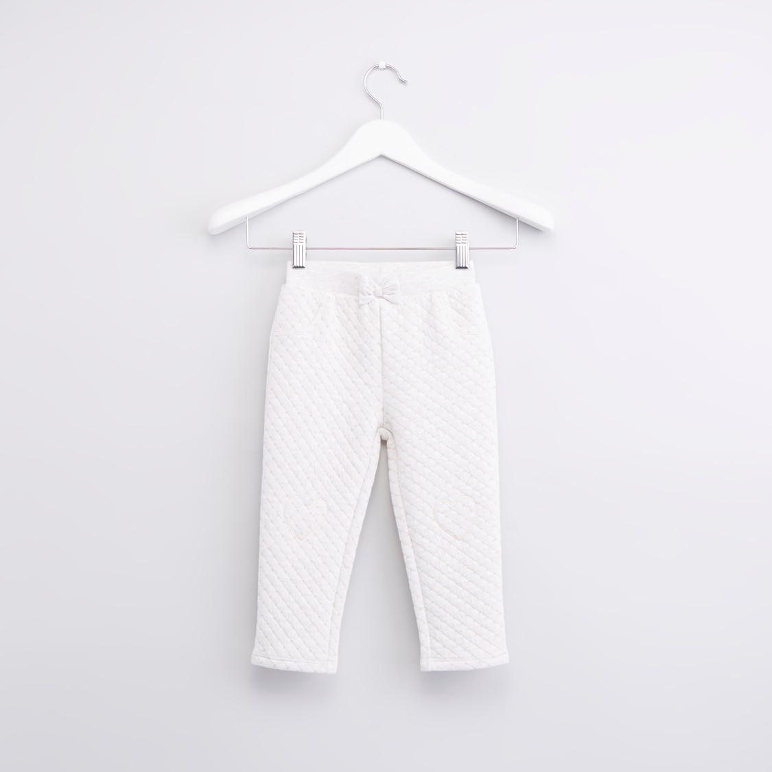 Textured Pants with Elasticised Waistband and Bow Detail