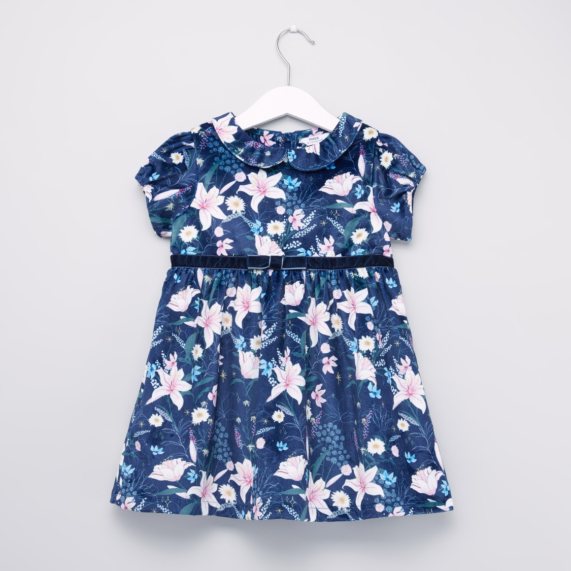 Floral Printed Dress with Short Sleeves and Bow Applique