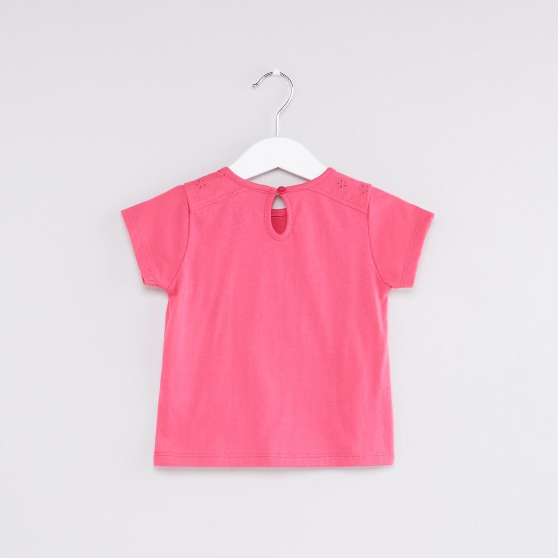 Schiffli Detail Round Neck T-Shirt