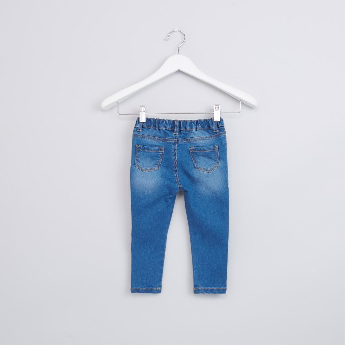 بنطال جينز بزر إغلاق وجيوب