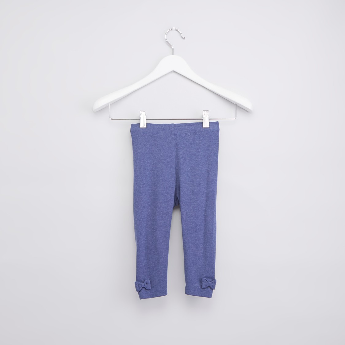 Solid Leggings with Bow Applique and Elasticised Wasitband