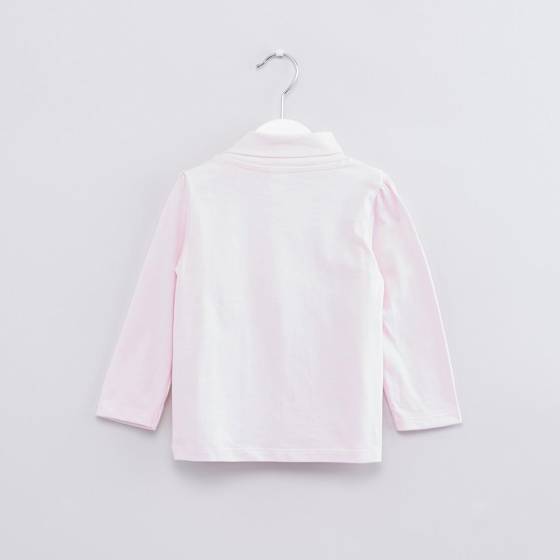Printed Turtleneck Long Sleeves Top