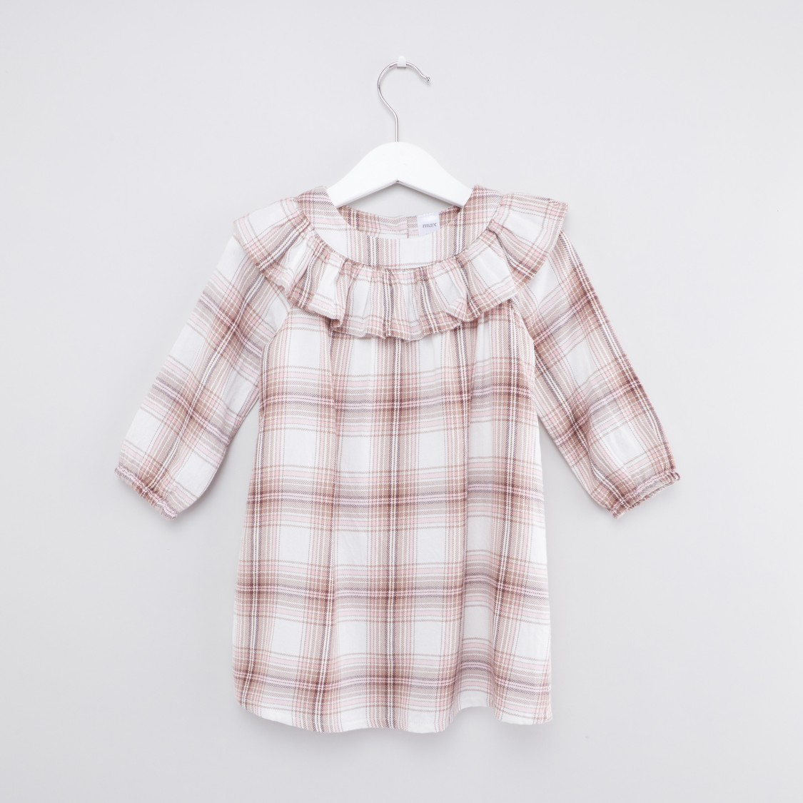Checked Button-Down Dress with Long Sleeves and Ruffled Collar