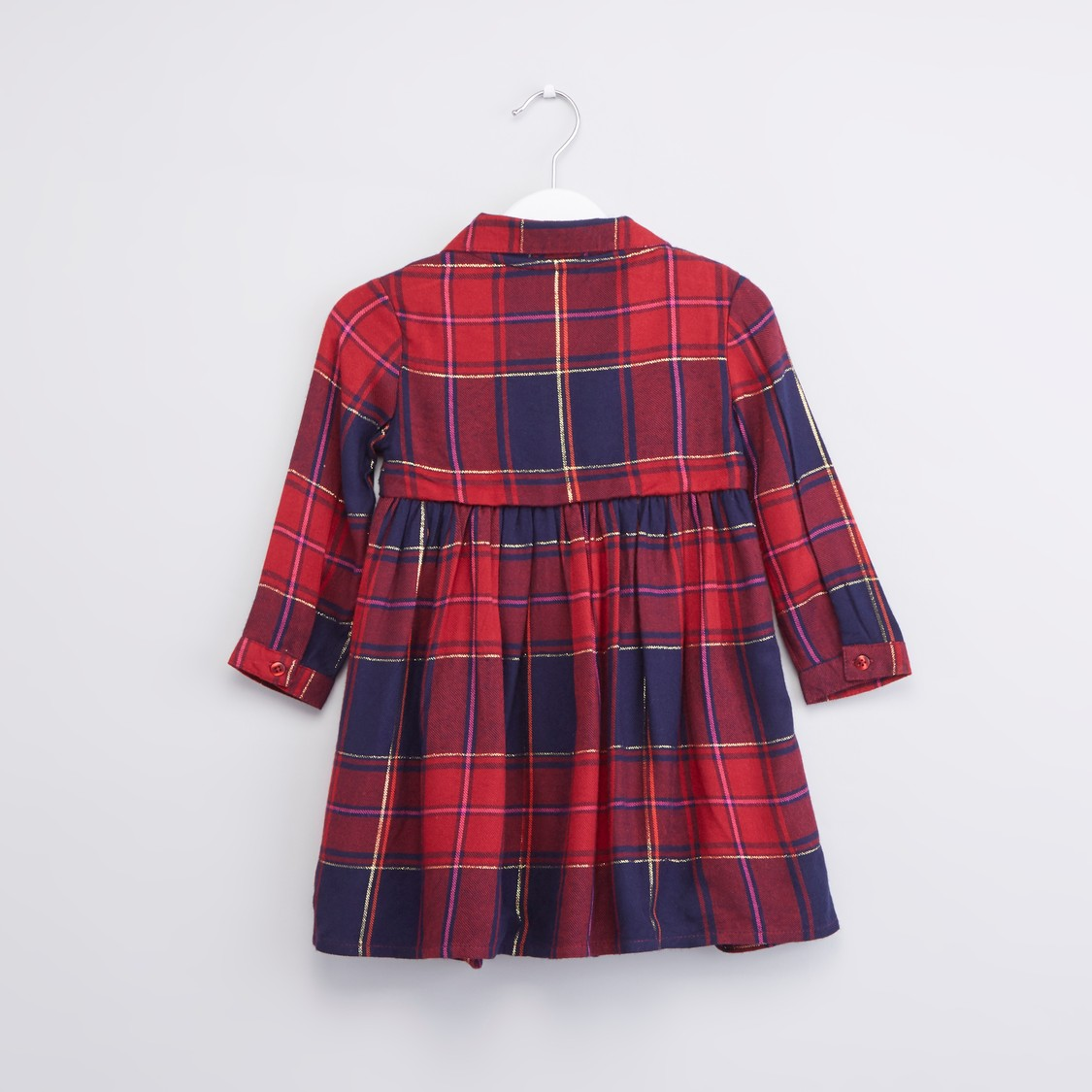Checked Dress with Collar and Long Sleeves