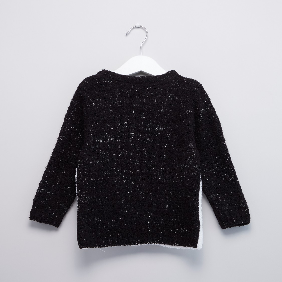 Penguin Face Round Neck Sweater with Long Sleeves
