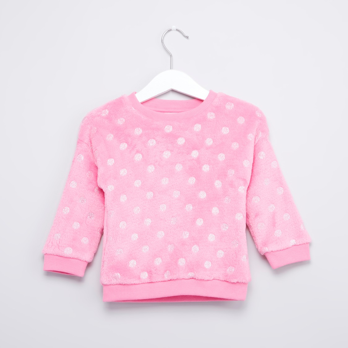 Polka Dot Printed Sweat Top with Long Sleeves