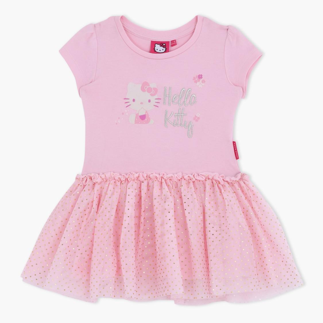 Hello Kitty Printed Short Sleeves Pleated Dress