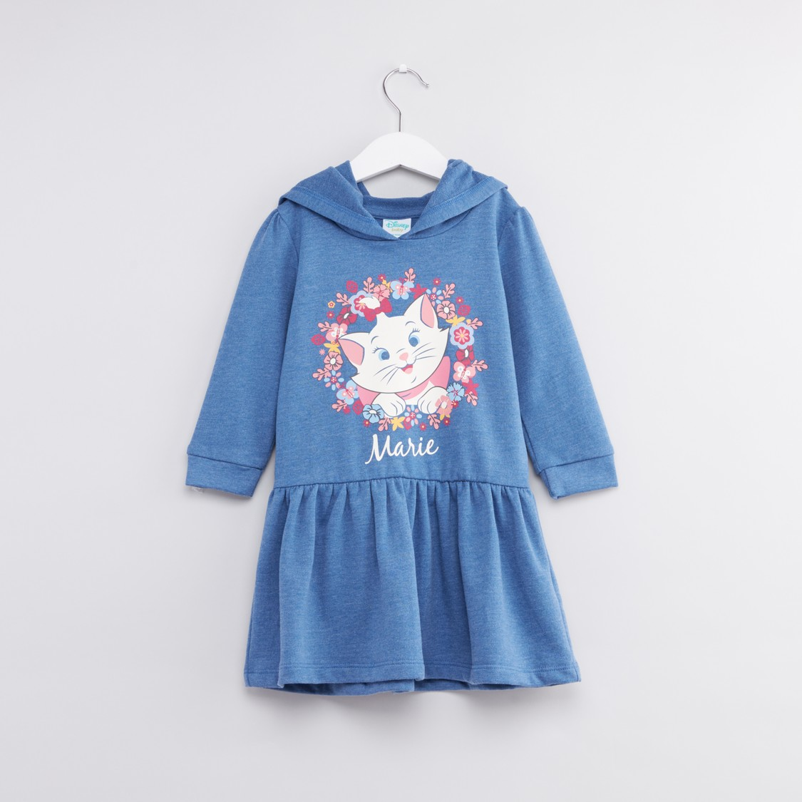 Marie the Cat Printed Dress with Long Sleeves and Hood