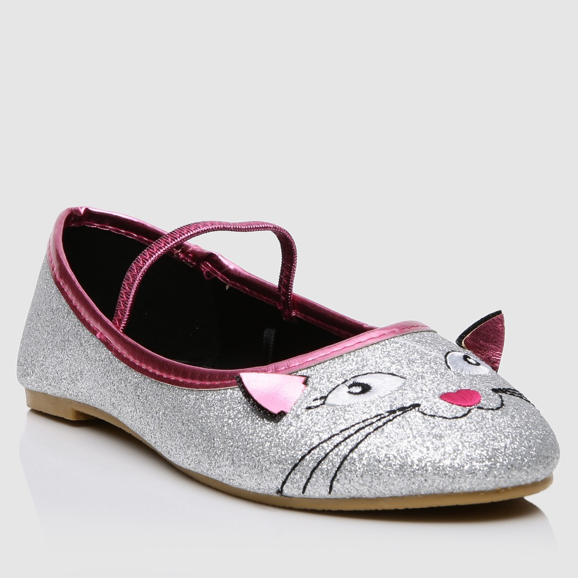 Shimmer Ballerina Shoes with Elasticised Band