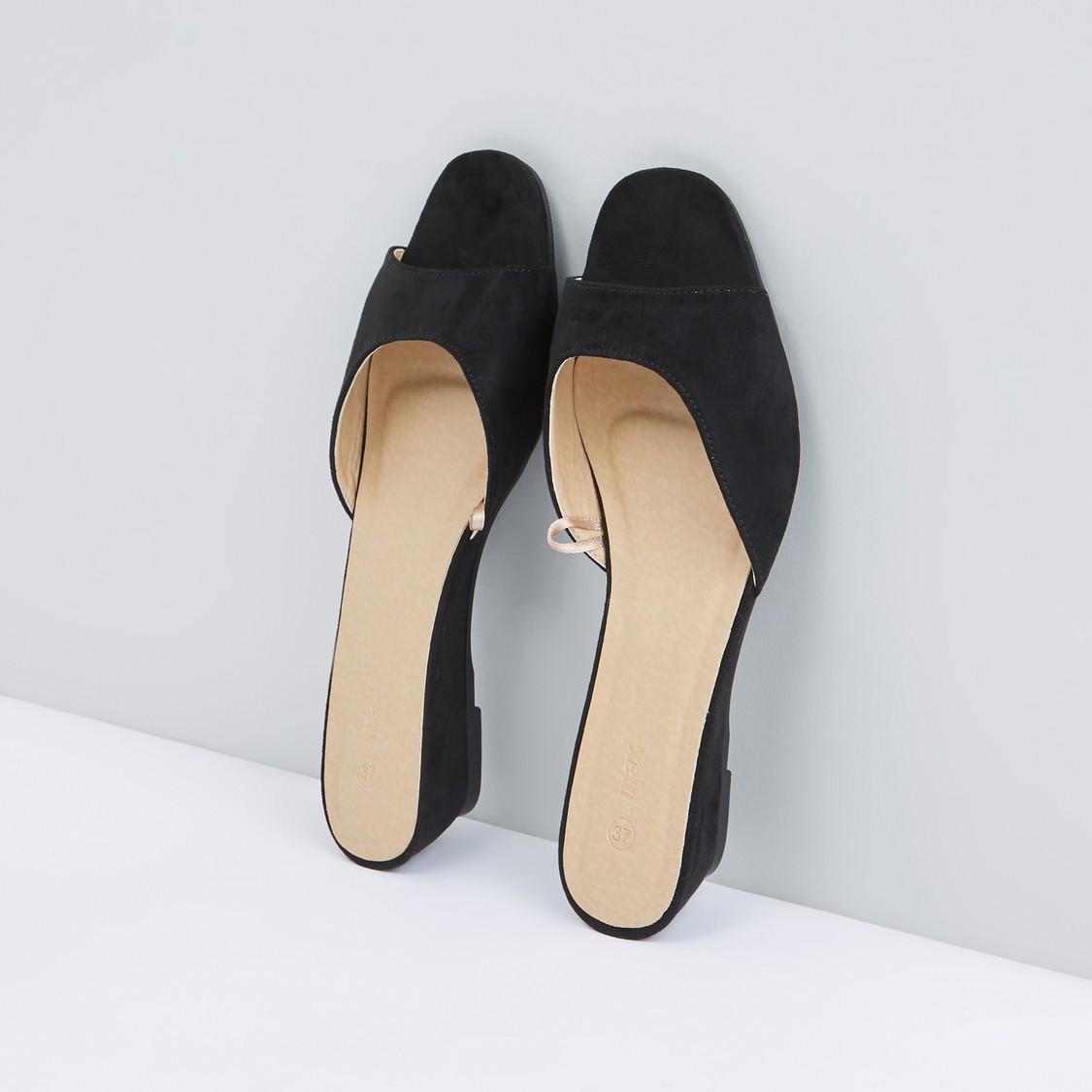 Peep-Toe Slip-On Sandals