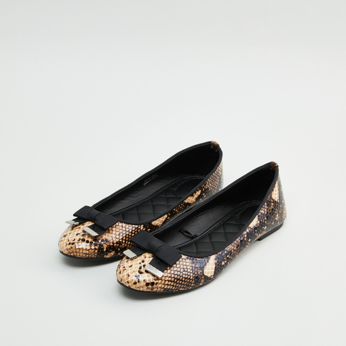 Animal Textured Ballerinas with Bow