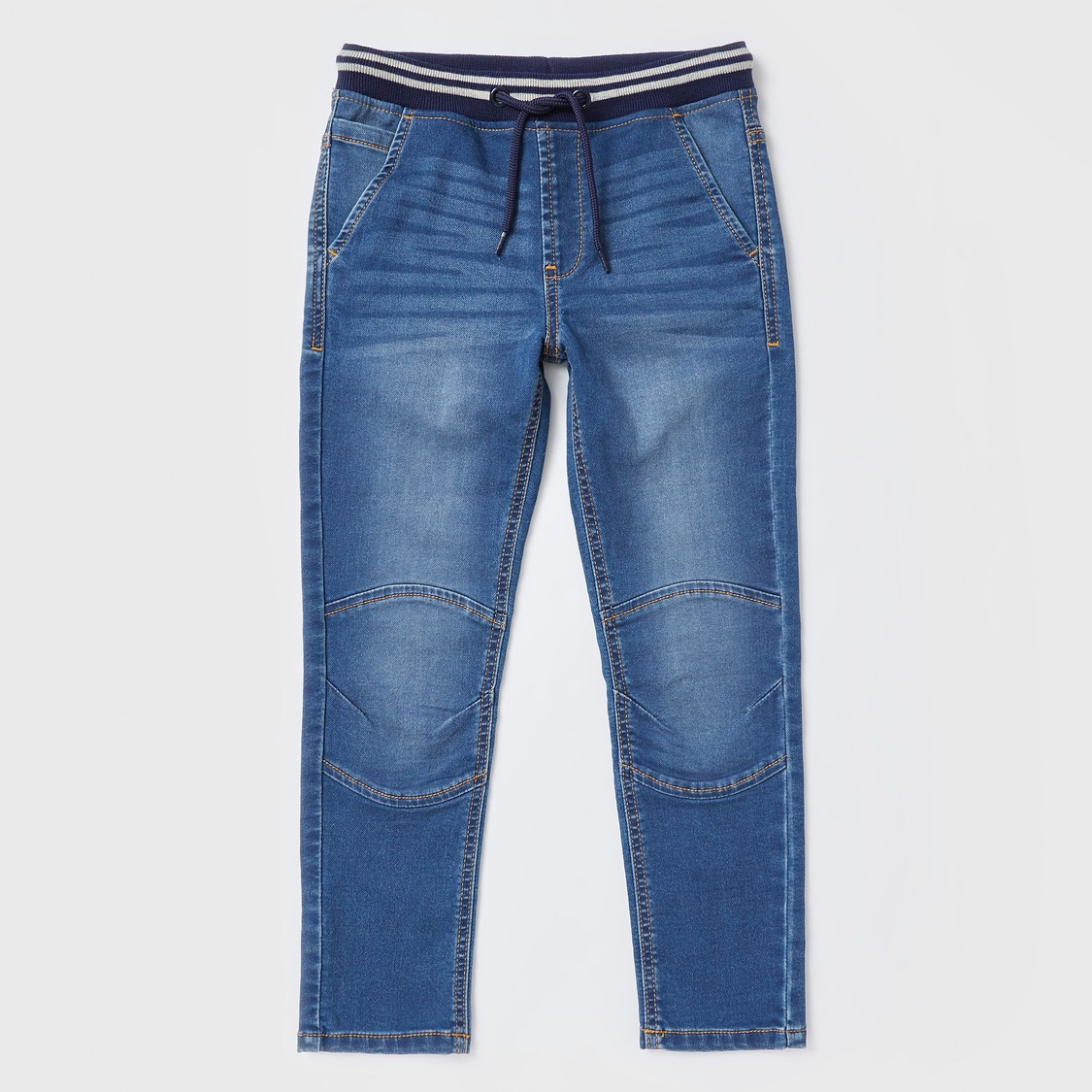 Full Length Denim Joggers with Drawstring Closure and Pockets
