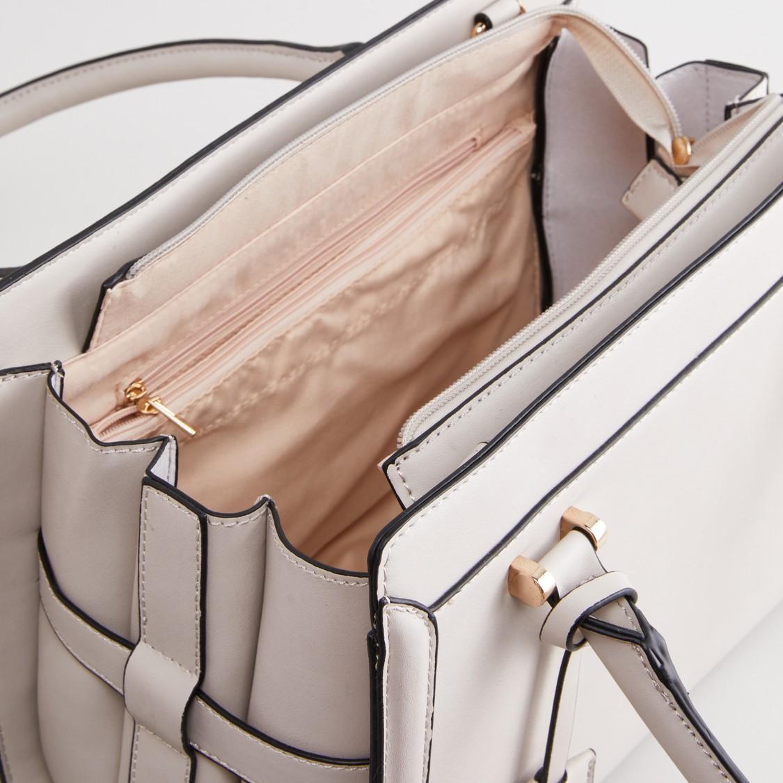 حقيبة يد سادة بسحّاب إغلاق وحمالة قابلة للفصل