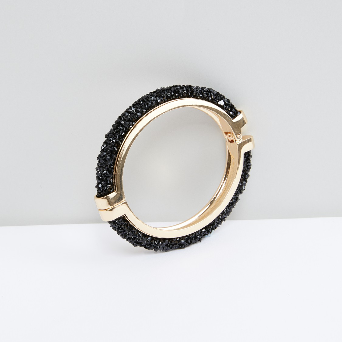 Studded Bangle Bracelet with Spring Closure