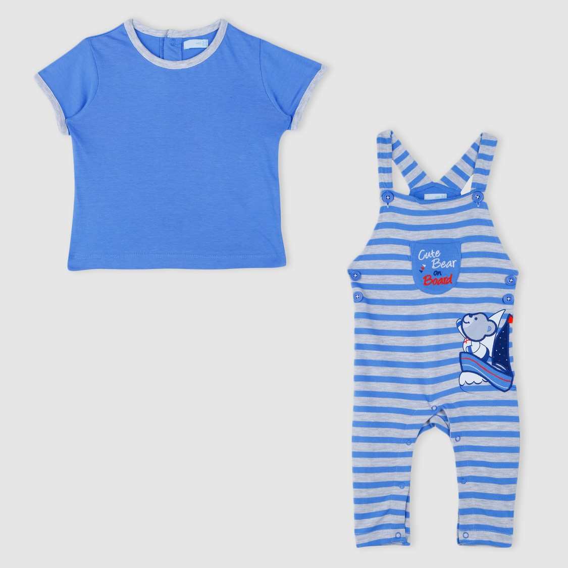 Embroidered T-Shirt and Dungaree Set