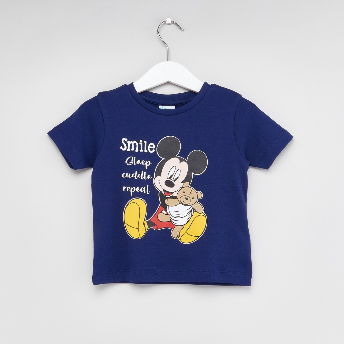 Mickey Mouse Printed T-shirt and Striped Pyjama Set
