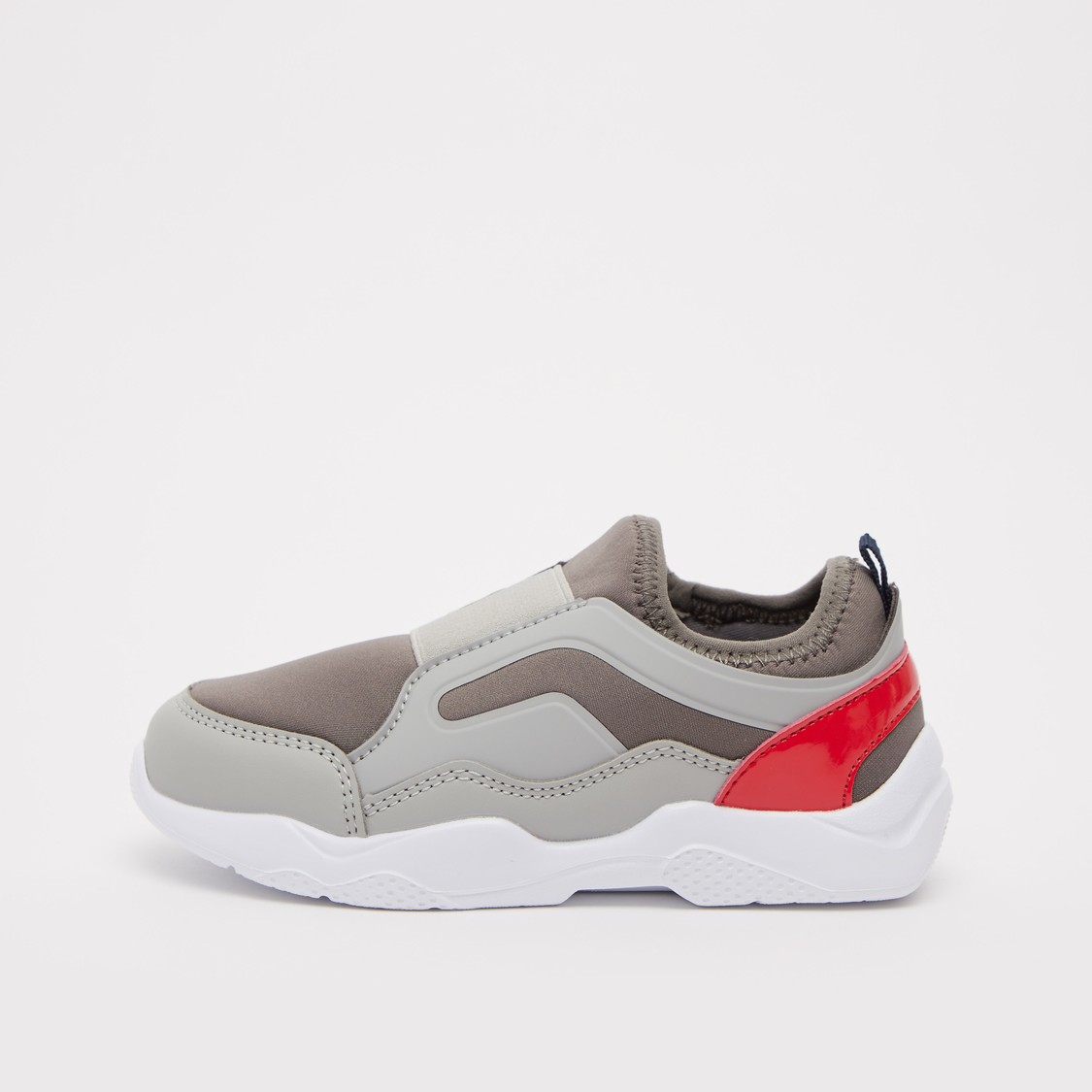 Colour Block Slip-On Sports Shoes with Pull Tab