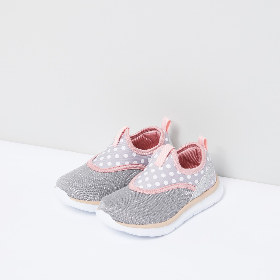 Polka Dot Printed Slip-On Shoes with Pull Tab and Textured Pattern