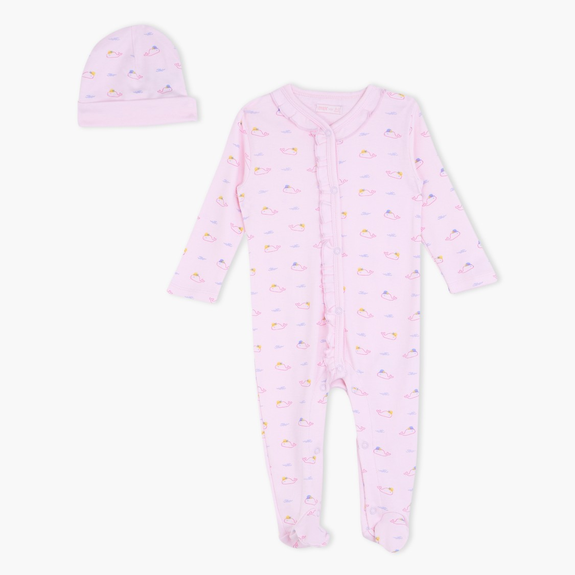 Printed Sleepsuit and Cap Set