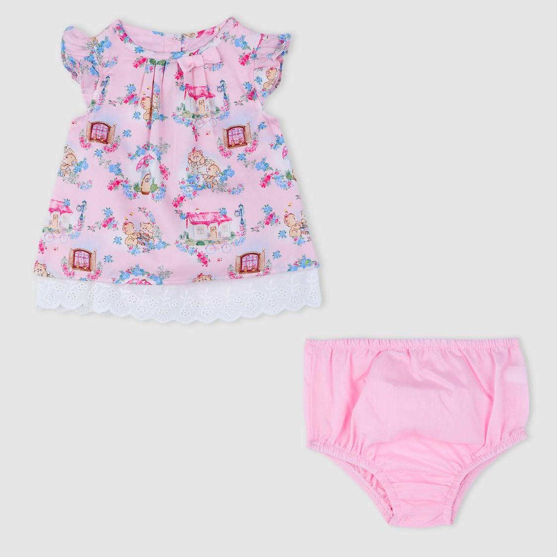 Bear Print Dress and Bloomer Set