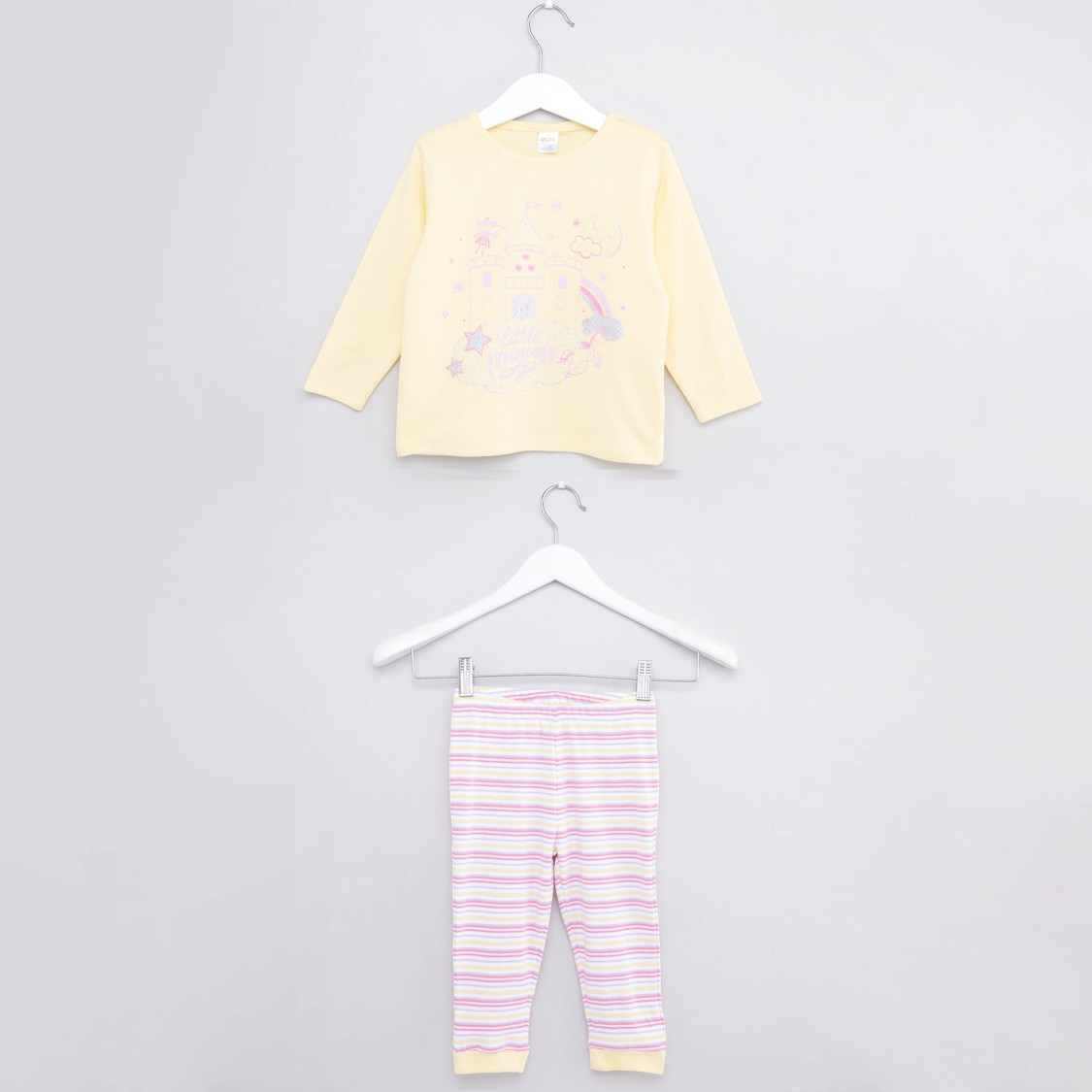 Printed Round Neck T-shirt and Jogger Pants Set