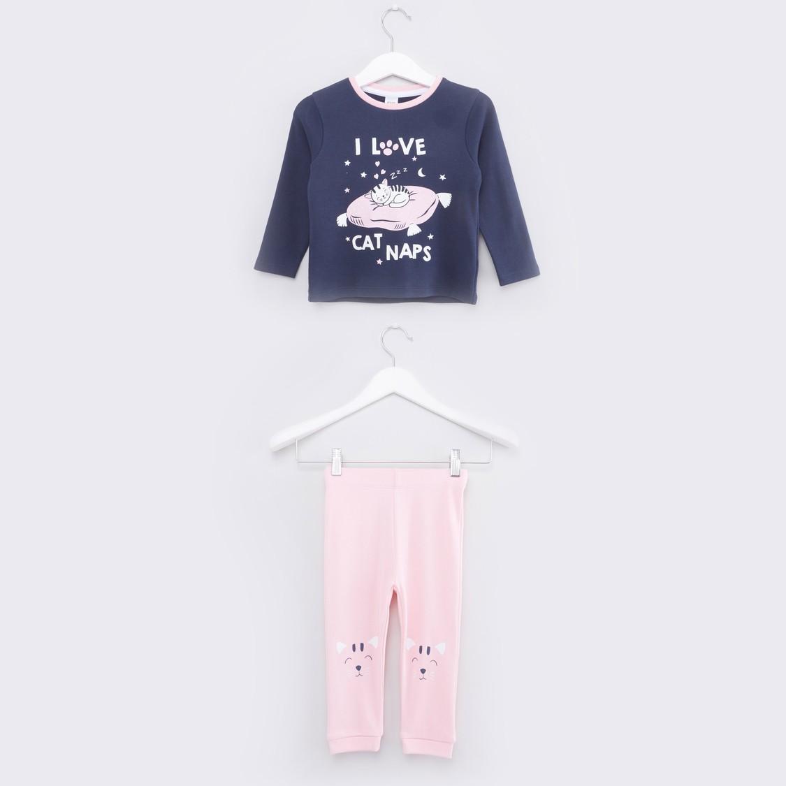 Graphic Printed Round Neck T-shirt and Pyjama Set