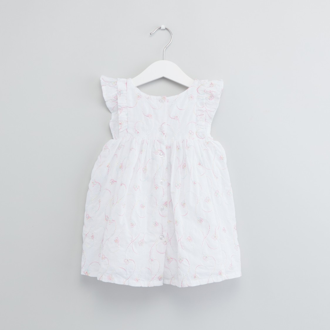 Embroidered Round Neck Dress with Ruffled Sleeves and Bloomers