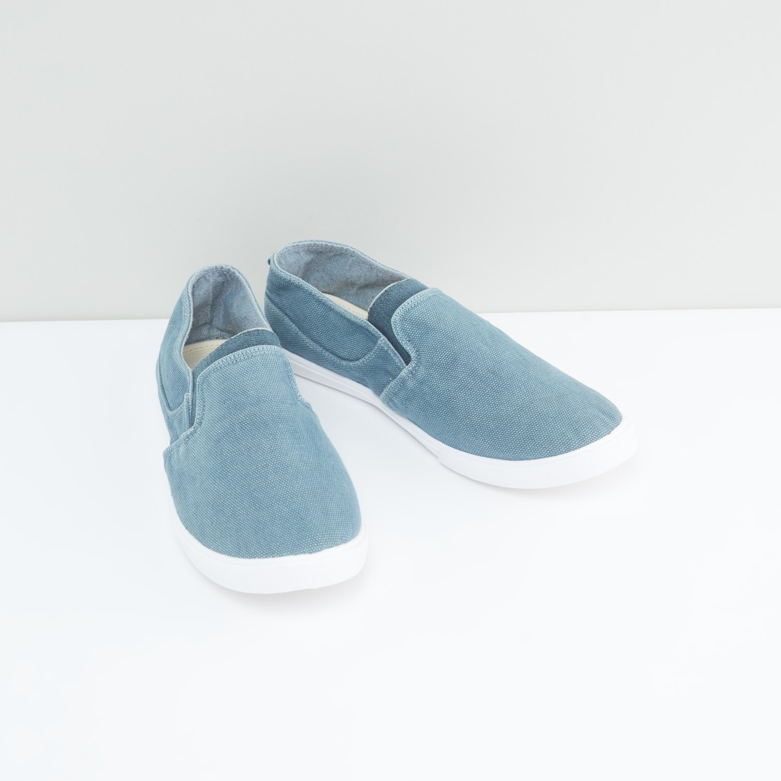 Low-Top Slip-On Panelled Canvas Shoes