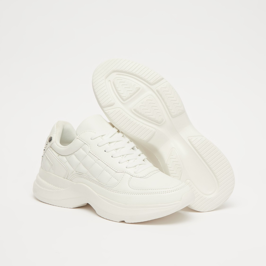 Quilt Stitched Lace-Up Sports Shoes