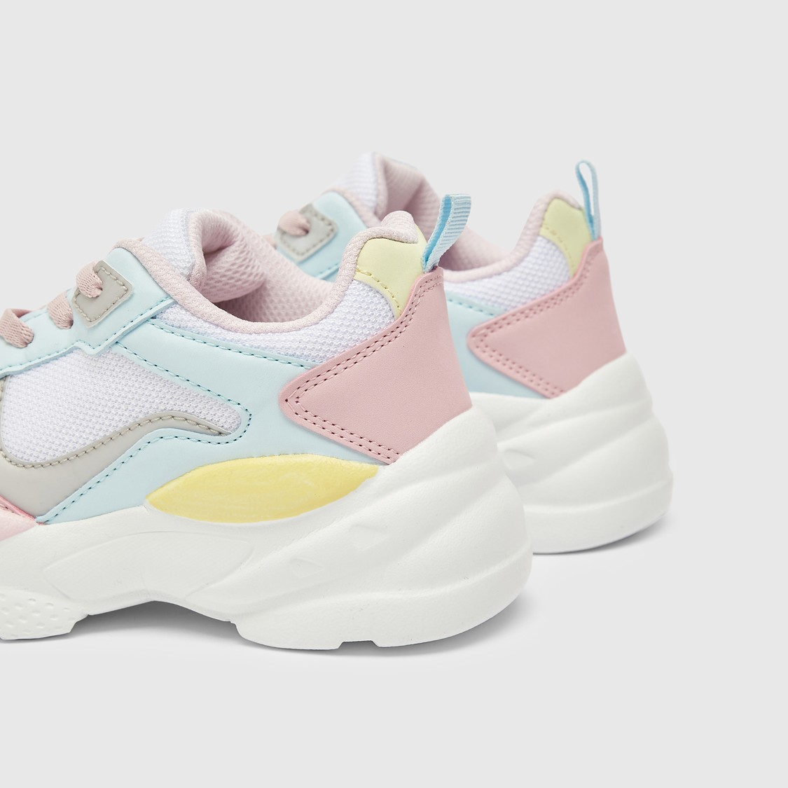 Panelled Chunky Sneakers with Lace-Up Closure