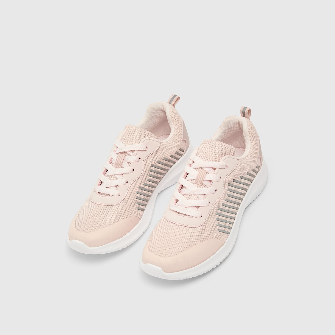Textured Lace-Up Shoes with Pull Tabs
