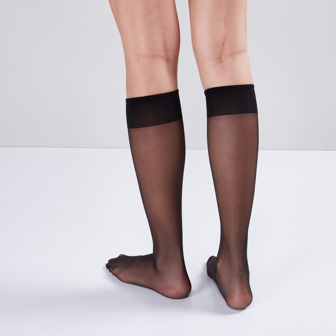 Set of 2 - Solid Skin Knee High Socks